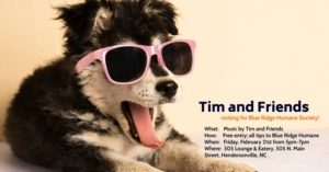 poster with dog wearing sunglasses with tongue out